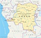 Mapa político da república Democrática de Congo ilustração stock