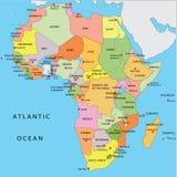 Mapa político de África ilustração stock