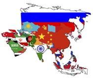 Mapa político de Ásia Fotografia de Stock