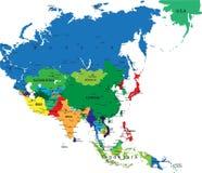 Mapa político de Ásia Ilustração Royalty Free