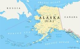 Mapa político de Alaska stock de ilustración