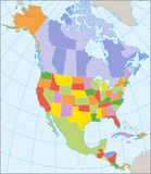 Mapa político de America do Norte Fotografia de Stock Royalty Free