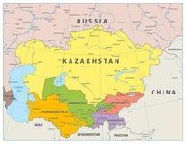 Mapa político de Asia Central ilustración del vector