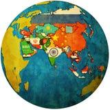 Mapa político de Asia en mapa del globo Imágenes de archivo libres de regalías