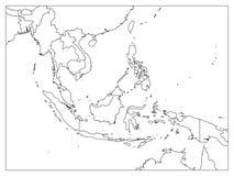 Mapa político de Asia sudoriental Esquema negro en el fondo blanco Ejemplo plano simple del vector ilustración del vector