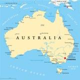 Mapa político de Austrália Foto de Stock