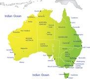 Mapa político de Austrália Fotografia de Stock Royalty Free