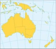 Mapa político de Austrália e de Oceania Imagens de Stock