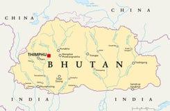 Mapa político de Butão Imagens de Stock