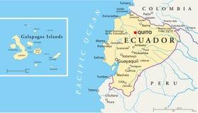 Mapa político de Equador e de Ilhas Galápagos ilustração royalty free