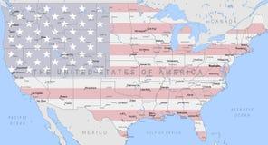Mapa político de Estados Unidos da América Imagens de Stock Royalty Free