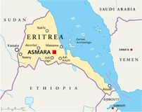 Mapa político de Etiopía Fotos de archivo