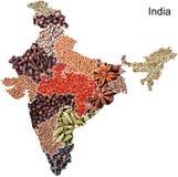 Mapa político de India com especiarias Imagem de Stock