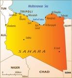 Mapa político de Líbia Imagem de Stock Royalty Free