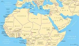 Mapa político de la África del Norte y de Oriente Medio Imagen de archivo libre de regalías