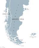 Mapa político de la Patagonia y de Falkland Islands ilustración del vector