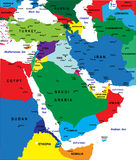 Mapa político de Médio Oriente Fotografia de Stock