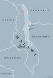 Mapa político de Malawi ilustração do vetor
