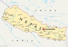 Mapa político de Nepal ilustração stock
