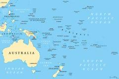 Mapa político de Oceania ilustração do vetor