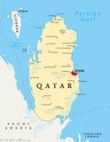 Mapa político de Qatar Imagenes de archivo