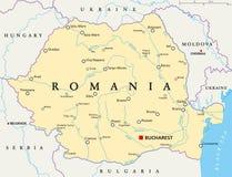 Mapa político de Romênia ilustração stock