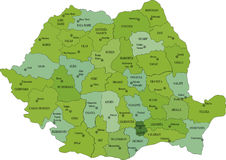 Mapa político de Rumania Fotos de archivo libres de regalías