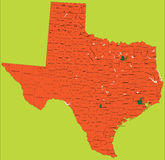 Mapa político de Texas Fotografia de Stock
