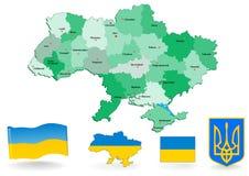 Mapa político de Ucrânia Fotografia de Stock