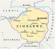 Mapa político de Zimbabwe ilustração do vetor