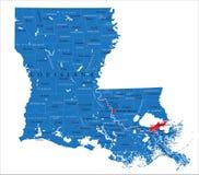 Mapa político del estado de Luisiana