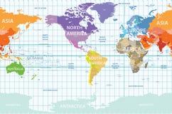 Mapa político del mundo del vector centrado por la América libre illustration