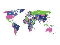 Mapa político del mundo en cuatro colores con las etiquetas blancas del nombre de país Aislado en el fondo blanco Ilustración del ilustración del vector