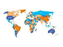 Mapa político del mundo en cuatro colores con las etiquetas blancas del nombre de país Aislado en el fondo blanco Ilustración del stock de ilustración