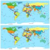 Mapa político del mundo. Vector. Torcido para el uso en los editores 3D. Imagen de archivo