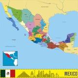 Mapa político del vector de México Fotografía de archivo libre de regalías