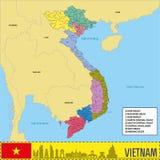 Mapa político del vector de Vietnam con regiones Imagen de archivo