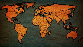 Mapa político del vintage del mundo con las banderas nacionales stock de ilustración