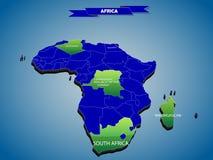 mapa político do infographics 3 dimensional do continente africano ilustração stock