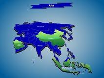mapa político do infographics 3 dimensional do continente asiático Fotografia de Stock