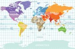 Mapa político do mundo com todos os continentes separados pela cor, etiquetada países e oceanos, e com as longitudes enumeradas Foto de Stock