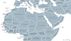 Mapa político do Norte de África e do Médio Oriente Imagens de Stock Royalty Free