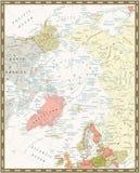 Mapa político do oceano ártico Cores retros ilustração royalty free