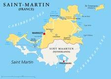 Mapa político do país de St Martin Imagem de Stock Royalty Free