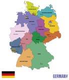 Mapa político do vetor de Alemanha com regiões Imagens de Stock Royalty Free