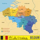 Mapa político do vetor de Bélgica com regiões Fotografia de Stock