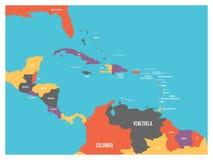 Mapa político dos estados de América Central e de Caraíbas com etiquetas dos nomes de país Ilustração lisa simples do vetor ilustração royalty free