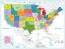 Mapa político dos EUA isolado no branco Imagens de Stock