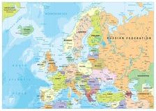 Mapa político e batimetria de Europa Foto de Stock