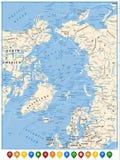 Mapa político el Océano ártico e indicadores planos del mapa Fotografía de archivo libre de regalías